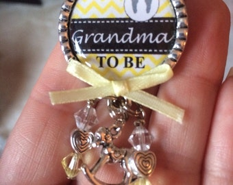 Grandma to be pin, Personalized Gift, Baby Shower, First Baby, Pregnancy Announcement, Baby Feet, Rocking Horse, Chevron, Yellow, Black