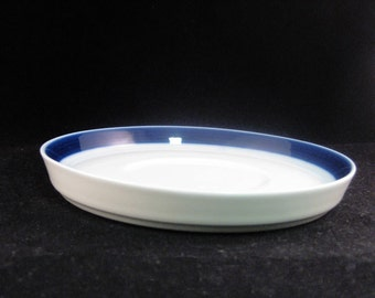 "German Thomas China Deep Rimmed Saucer ""Brushed Cobalt"" Pattern"
