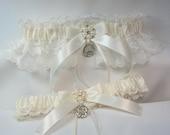 IRISH Wedding garters claddaugh Garter set Ivory Lace