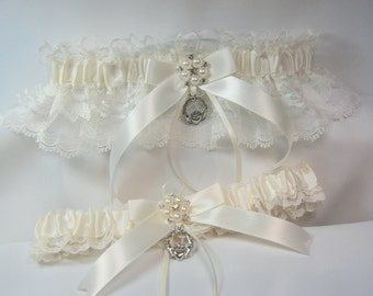 IRISH Wedding garters claddaugh Garter set Ivory Lace irish garter
