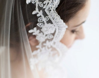 Delilah, Lace Mantilla Veil Available in Ivory, Mantilla Veil, Waist Veil, Fingertip Veil, Waltz Veil, Chapel Veil, Cathedral Veil