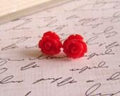 Red Earrings, Red Rose Earrings, Christmas Earrings, Stud Earrings, Red Flower Earrings, Vintage Style Earrings, Surgical Steel