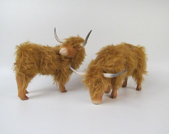 Scottish Highland Cattle Figures in Porcelain and Mohair 7""