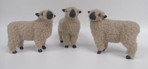 Handmade Shropshire Sheep Figures in Porcelain and Wool