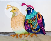 Two Quail in the Moon Male and Female Illustration