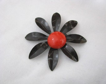 Vintage brown enamel flower pin brooch with orange center