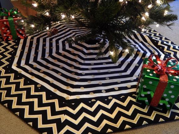large black gold white chevron and stripe octagon christmas