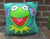 Repurposed Kermit the Frog TShirt Pillow