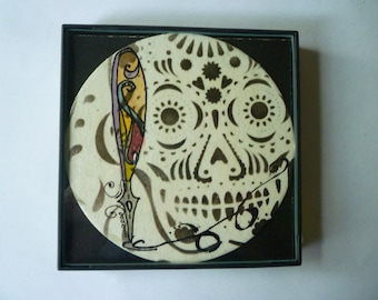 FRAMED Skull and fancy  nib pen abstract Zentangle inspired, 4x4 inch, use a as a grouping on small wall.#15