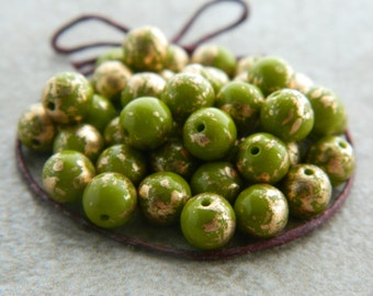 Druk Glass Beads, Czech Glass Beads, Druk Glass Round Beads, 6mm, Opaque Olive & Gold Wash Finish finish (30pcs) NEW
