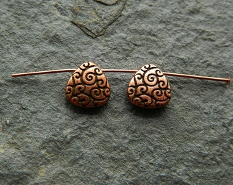 Pewter Scroll Teardrop beads, Metal Scroll Briolette beads, Antique Copper Plated Pewter beads , USA made  (2pcs) NEW