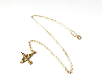 Bow And Arrow Necklace In 14kt Gold Filled, Hunter Necklace