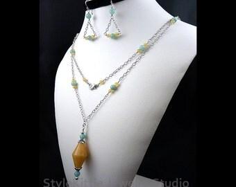 Station Pendant Necklace, Yellow Honey Jade, Aqua Blue Amazonite, 925 Sterling Silver, Layered, Long, Chain, Dangle Earring,Gemstone,Jewelry