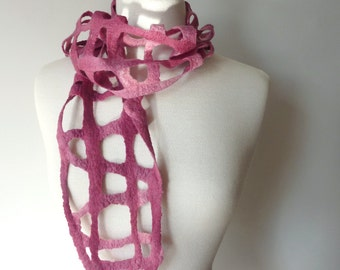 Pink Wool Scarf - Felted Scarves - Woven - Made in Australia