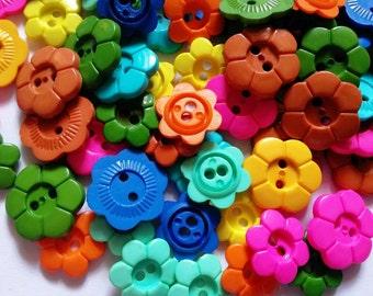 30 pcs flower button 2 hole mix size