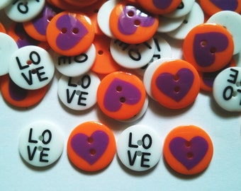 26 pcs Cute Retro love Buttons White and orange