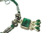 Emerald Necklace with Emerald Beads in Sterling