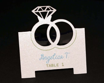 Wedding Rings Tent Place Cards