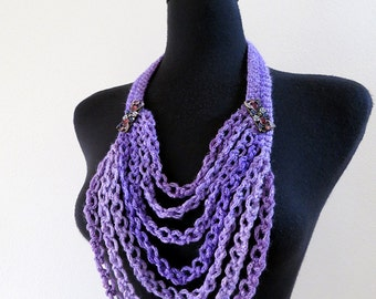 FREE US SHIPPING - Fairies Dream  Lavender Lilac Violet Purple Color Statement Crochet Chains Necklace Lariat Bib with Metal Flower Pendants