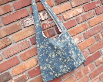 SALE  Slouch Bag, Shoulder Bag, Denim Tote