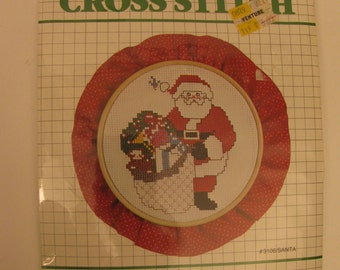 Cross Stitch Kit Santa Vintage 1980s - w/ Hoop - Vintage Christmas Decor - Gift -