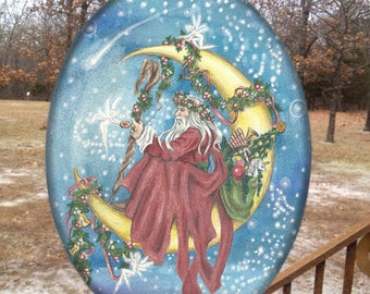 Father Yule Glass Suncatcher