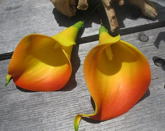 Orange Calla Lilies flowers SET OF 2 bobby pins -hair clips - Weddings
