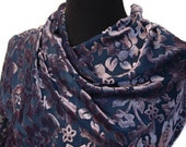 Navy and Purple Floral Burnout Velvet Scarf