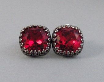 Ruby Red,Earring,Post Earring,Post,Stud,Red Stoner,Red Stone,Ruby,Ruby Earring,Brithsotne,Red Earring,July,July Ruby.lValleygirldesigns.