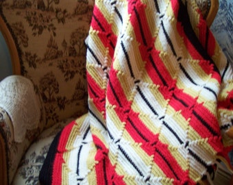 Vintage Crochet Afghan,  Red, Gold, Black and White, Southwest Decor, Striped Afghan