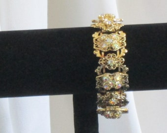 Vintage Bracelet with AB Rhinestones and Gold Toned Metal