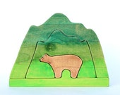 mountain and bear wooden stacking toy waldorf toys