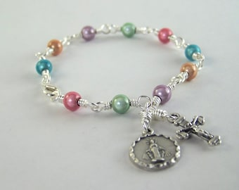 Colorful Miraculous Medal Rosary Bracelet with Miracle Beads