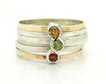 Citrine stacking ring with gold & silver hammered bands
