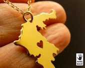 Greece Map Handmade Personalized Goldplated Sterling Silver .925 Necklace in a gift box
