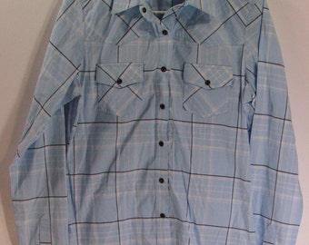 pearl snap western shirt womens Medium M baby blue rockies rockabilly cowgirl