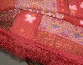 quilted throw..recycled..upcycled..red plush..warm..one of a kind..quilt..easy care..handmade fringe..geometric.my own design