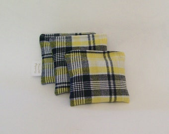 Lavender or Maine Balsam Fir Sachet set of 3 Yellow and Blue Plaid