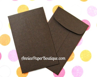 10 Mini Open End Envelopes with Ungummed Flap - Dark Brown
