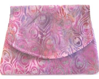 Peacock Feathers on Purple Small Batik Wallet