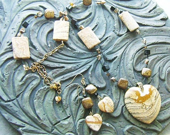 Picture Jasper Heart Gemstone Necklace and Earrings Set with Bronzite and Leopardskin Jasper -Picture This-Tan, Cream, Brown, Black, Bronze