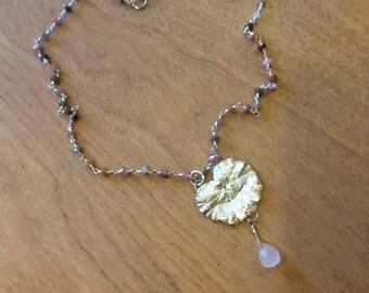 Spring Awakening Fine Silver PMC Flower Leaf Gemstone Necklace
