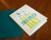 Happy BirdDay - teal and green ST0007