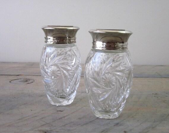 vintage glass spice jars with silver plate wood lids by 22bayroad. Black Bedroom Furniture Sets. Home Design Ideas