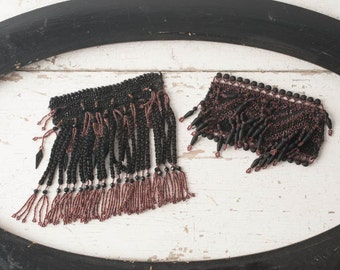 Antique Beaded Trim Fringe: Victorian Tassels, Black Mourning Jet, Burgundy Beads, Edwardian Woven Crochet, Passmentrie, Two Pieces Supplies