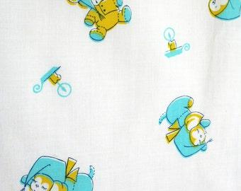Vintage cotton fabric with juvenile print. Children, bedding, clothing, bear, bunny, duck, aqua, turquoise, yellow, yardage.