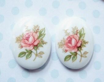 2 - Vintage japanese porcelain 18x13m pink rose cameos- RC62