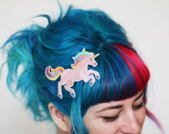 Unicorn Hair Clip, White, Pink or Zombie Your Choice of Barrette, Aligator or Snap Clip