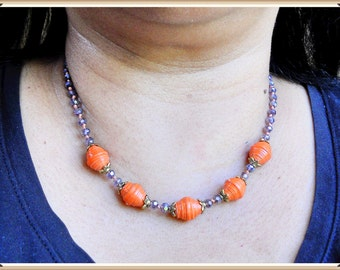 Purple And Orange Necklace, Paper Bead Necklace, Purple Crystal Necklace, Paper Bead Jewelry, Knotted Necklace, 17.5 inch necklace