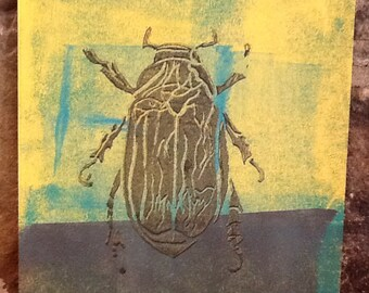 Goldbug Linocut block mono print 8x10 Inches